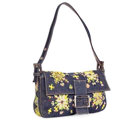 0e082f185c Fendi Handbags - Fendi Denim Beaded Floral Baguette